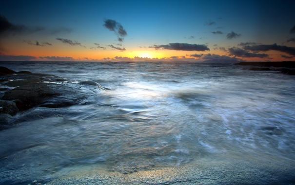 Фото обои море, небо, пейзаж, закат
