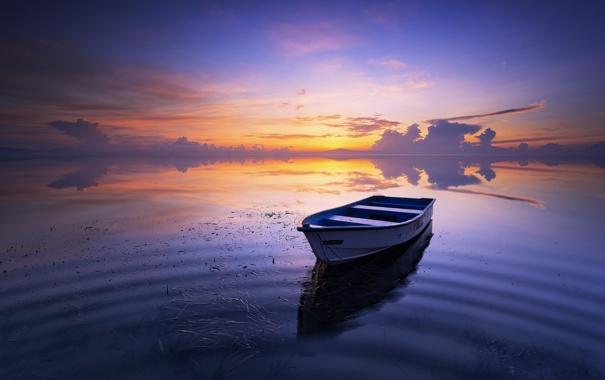 Фото обои пейзаж, закат, озеро, лодка