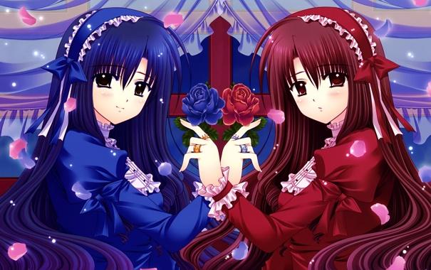 Фото обои цветы, девушки, красное, розы, аниме, синее, платья