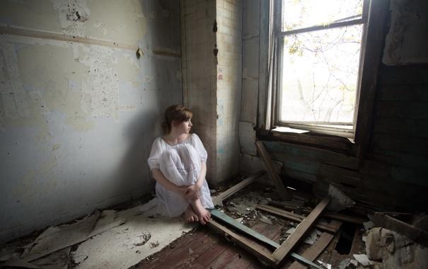 Фото обои девушка, фон, комната