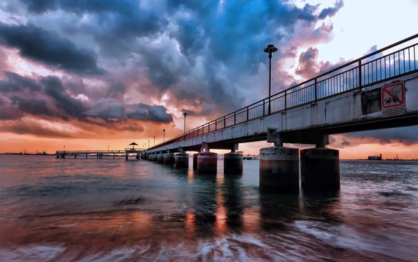 Фото обои море, волны, небо, берег, пристань, вечер