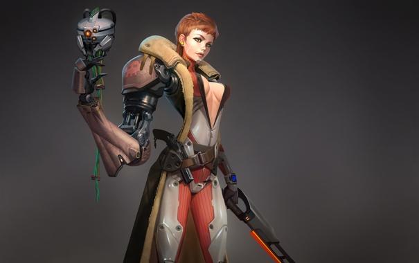 Фото обои пистолет, Девушка, минимализм, пират, костюм, серый фон, протез