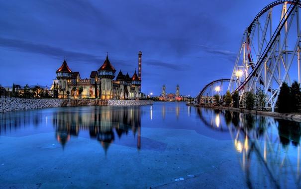 Фото обои ночь, город, парк, сказка