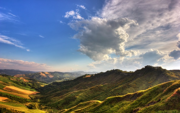 Фото обои landscape, cloud, mountain, tree, hills