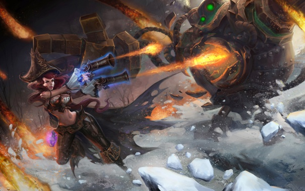 Фото обои монстр, blitzcrank, девушка, битва, league of legends, miss fortune, лед