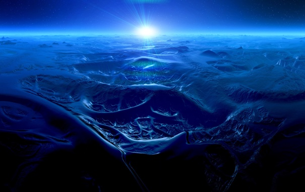 Фото обои солнце, планета, пластика, Ocean of Mountains