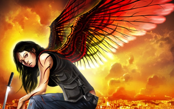 Фото обои взгляд, девушка, город, крылья, меч, катана, арт