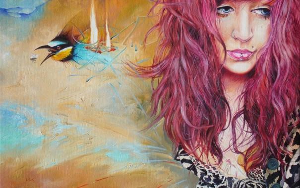 Фото обои девушка, птица, портрет, пирсинг, Wlodzimierz Kuklinski