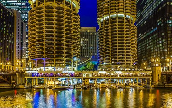 Фото обои здания, небоскребы, америка, чикаго, Chicago, сша, высотки