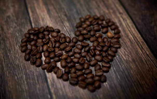 Фото обои сердце, любовь, кофе
