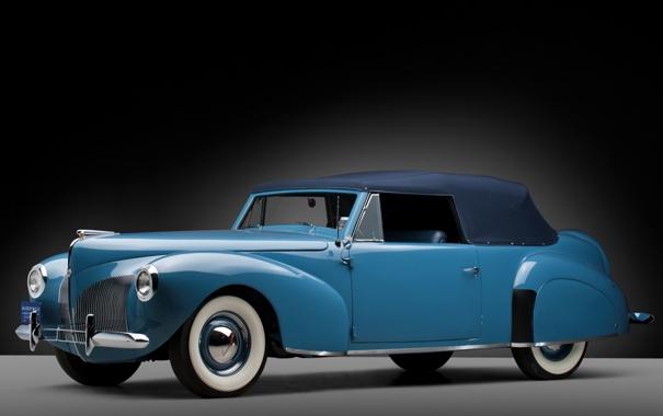 Фото обои Lincoln, ретро, Continental, кабриолет, полумрак, передок, Cabriolet