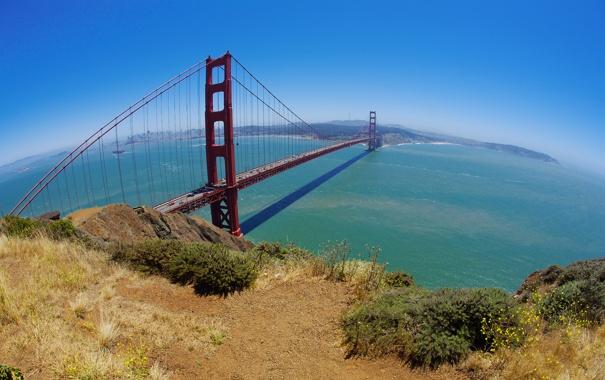 Фото обои вода, пейзаж, мост