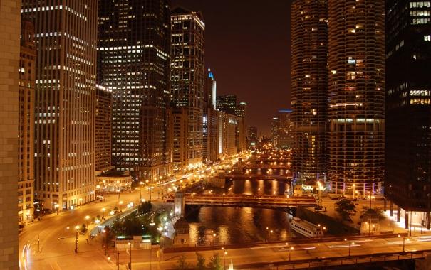 Фото обои ночь, огни, река, небоскребы, мосты, чикаго, Chicago