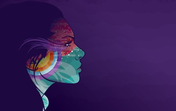 Фото обои девушка, лицо, краски