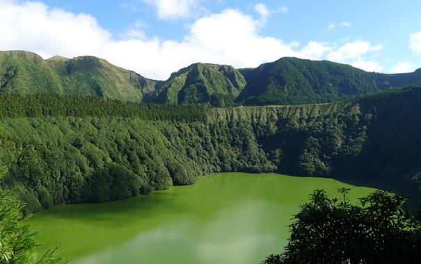 Фото обои пейзаж, горы, природа, озеро, Португалия, Azores