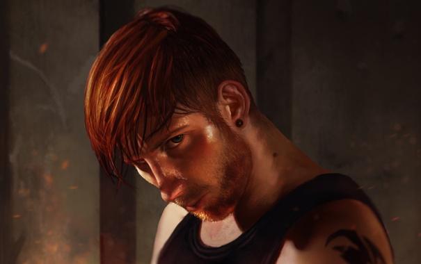 Фото обои взгляд, рыжий, борода, парень, man, Fighter
