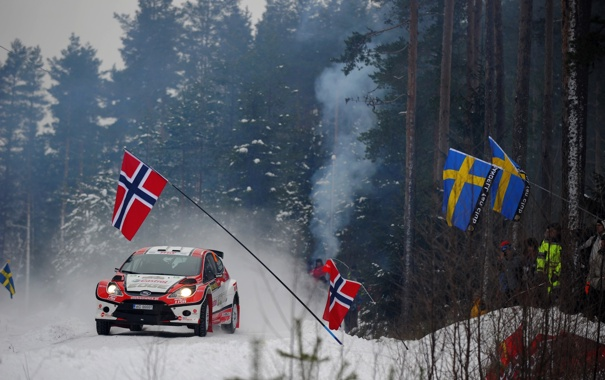 Фото обои Ford, Зима, Лес, Спорт, Люди, Гонка, Флаги