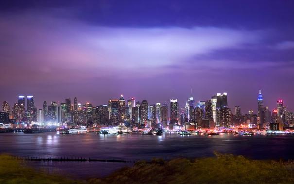Фото обои ночь, city, город, огни, нью-йорк, night, new york