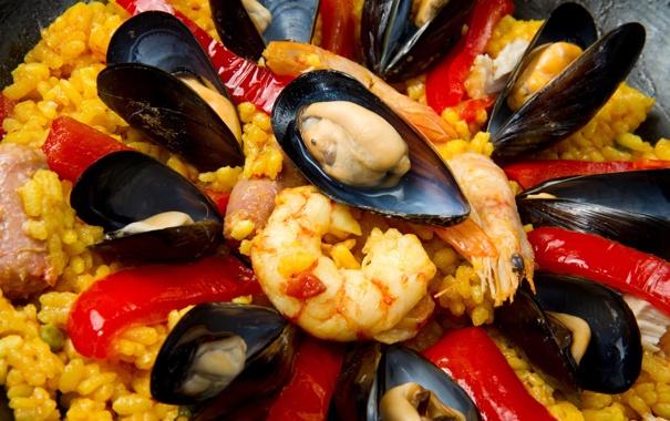 Фото обои перец, креветки, морепродукты, мидии