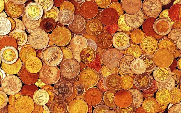 Фото обои страны, текстура, монеты