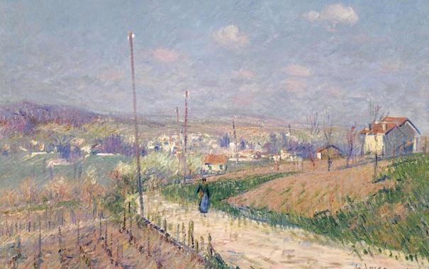 Фото обои дорога, пейзаж, дома, картина, виноградник, Гюстав Луазо, Весна в Иль-де-Франс