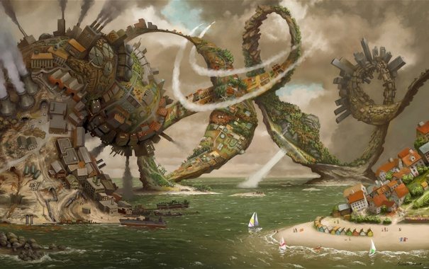 Фото обои море, город, корабли