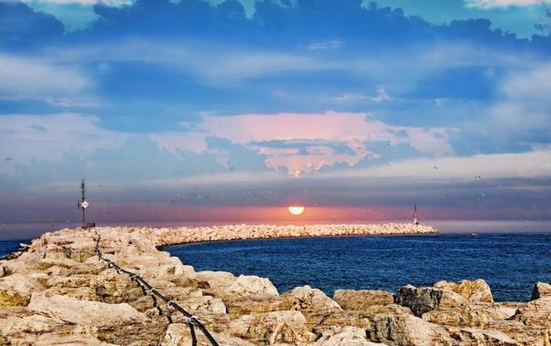 Фото обои море, пейзаж, птицы, маяк