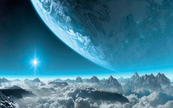 Фото обои облака, пейзаж, горы, звезда, планета, сооружение, Titanfall