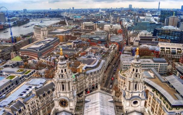 Фото обои река, Лондон, дома, архитектура, улицы, панорама.