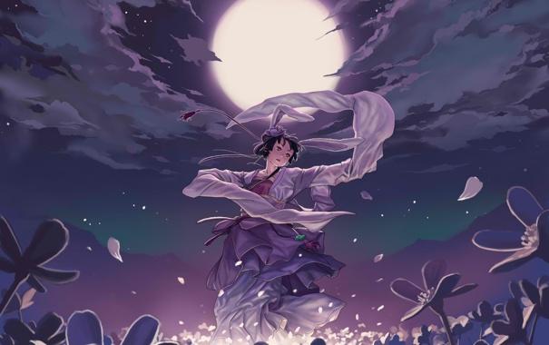 Фото обои девушка, цветы, ночь, танец, аниме