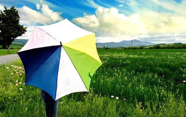 Фото обои зелень, белый, небо, трава, листья, девушка, солнце