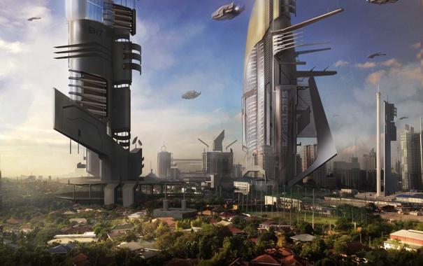 Фото обои город, будущее, корабли, арт, сооружения, башни, cloudminedesign