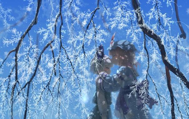Фото обои зима, снег, аниме, art, Touhou, Konpaku Youmu, Saigyouji Yuyuko