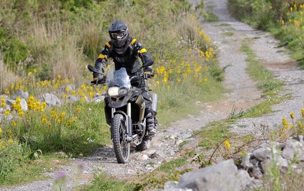 Фото обои дорога, трава, цветы, BMW, БМВ, мотоцикл, байкер