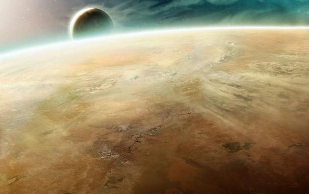 Фото обои космос, поверхность, трещины, планета, спутник, атмосфера, арт
