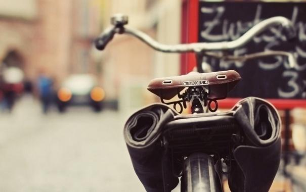 Фото обои велосипед, город, улица