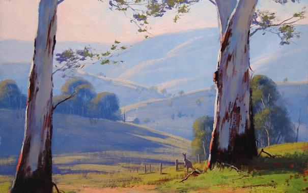 Фото обои пейзаж, Австралия, кенгуру, artsaus, деревья, дорога, природа