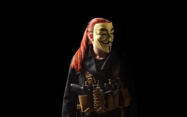Фото обои девушка, оружие, волосы, маска, куртка