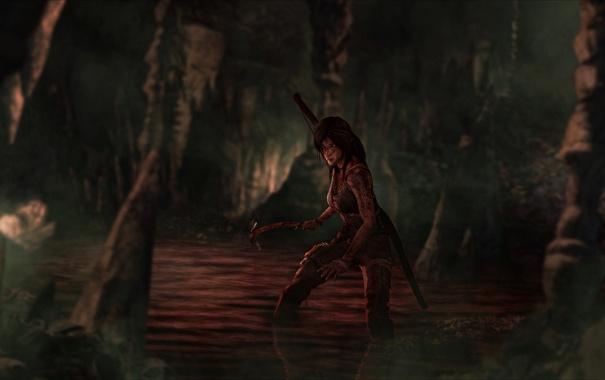 Фото обои кровь, Tomb Raider, пещера, reborn, ледоруб