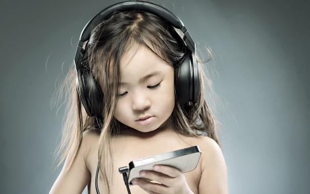 Фото обои музыка, настроение, наушники, девочка