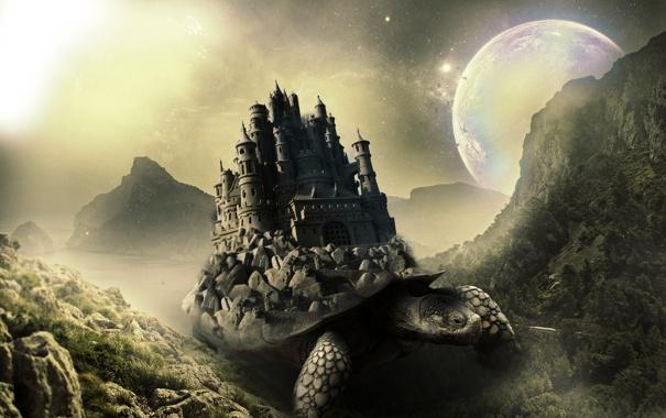 Фото обои горы, замок, From the Ocean Depths