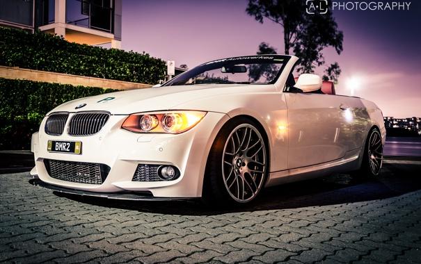 Фото обои ночь, бмв, BMW, белая, кабриолет, 3 серия, 330d