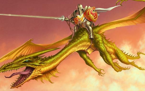 Фото обои язык, дракон, крылья, копье, рыцарь