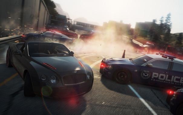 Фото обои гонка, полиция, Bentley, погоня, кабриолет, преграда, need for speed most wanted 2