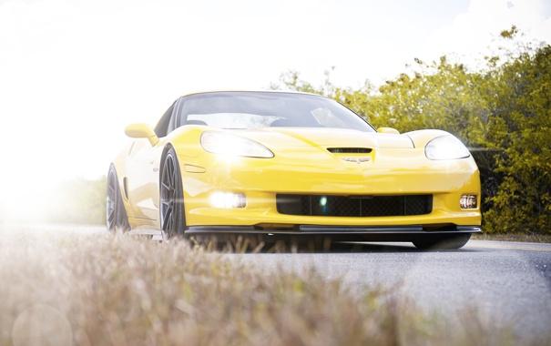 Фото обои солнце, лучи, cars, auto, Corvette Z06
