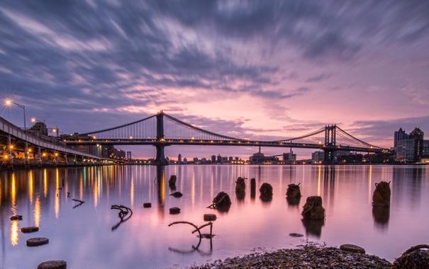 Фото обои закат, мост, город, река, США