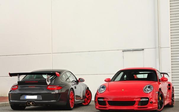 Фото обои 911, 997, Porsche, red, wall, gt3, techart