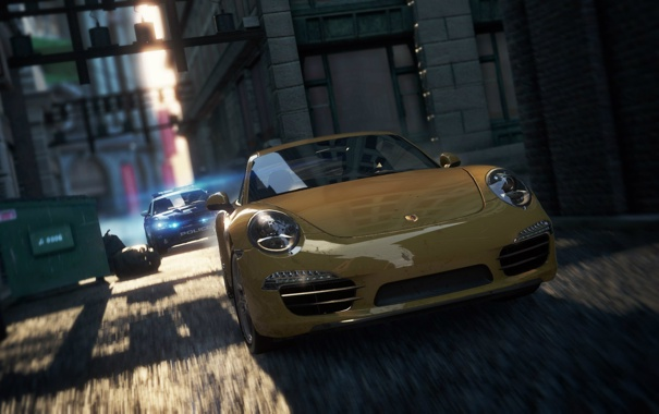 Фото обои город, гонка, полиция, погоня, Porsche, переулок, need for speed most wanted 2