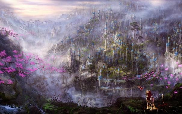 Фото обои пейзаж, горы, город, туман, дерево, конь, птица