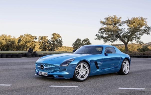 Фото обои Mercedes-Benz, Авто, Мерседес, Асфальт, AMG, SLS, Хром